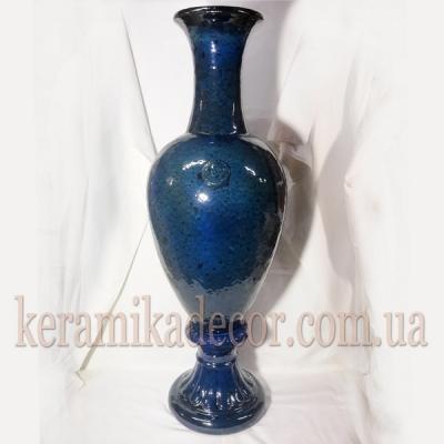 Керамическая синяя,морское дно, классическая изысканная глазурованная ваза на ножке для цветов купить для интерьера, для дома, квартиры, дачи, офиса, ресторана  Киев Украина