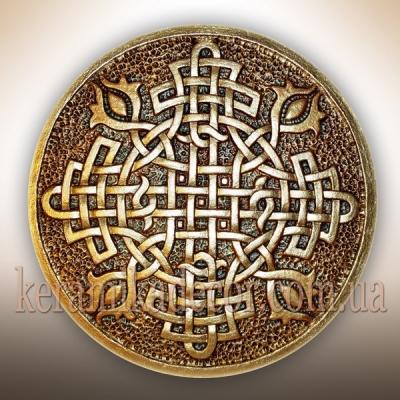 """Керамическая золотая тарелка """"Обережный крест"""" купить на подарок Киев"""