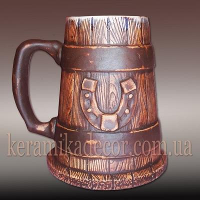 Керамическая кружка-сувенир с подковой для пива, кваса купить Киев Украина