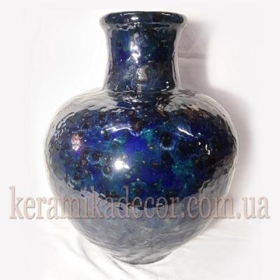 Керамическая синяя глазурованная ваза для цветов купить для интерьера, для дома, квартиры, дачи, офиса, ресторана  Киев Украина