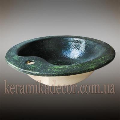 Керамический умывальник зеленого цвета под камень (мрамор, малахит) для интерьера купить Киев Украина