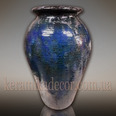 """Керамический синий горшок """"Океан"""" для интерьера, дизайн ландшафта, шамот, глазурь купить"""
