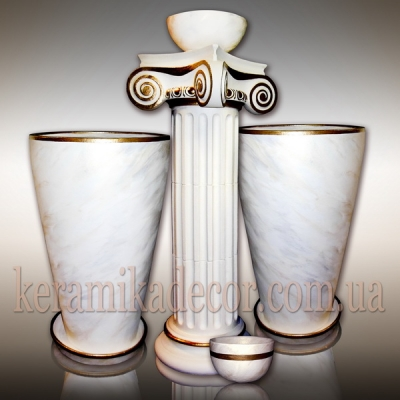 Керамическая колонна и горшки под мрамор купить