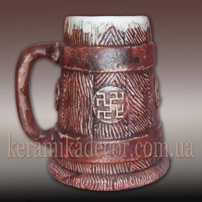 Керамическая кружка-сувенир с обережными символами для пива, кваса купить Киев Украина