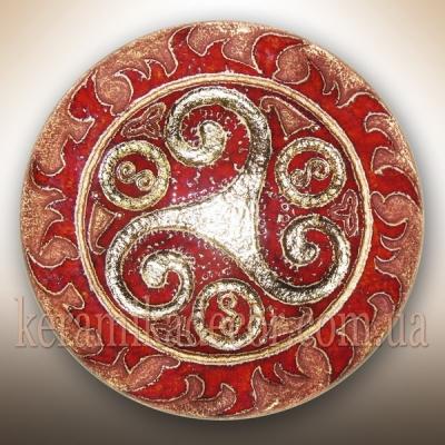 Декоративная красивая глазурованная тарелка купить на подарок Украина