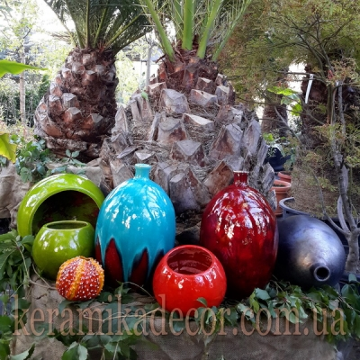 Керамические глазурованные разноцветные вазы для цветов купить для интерьера, для дома, квартиры, дачи, офиса, ресторана  Киев Украина