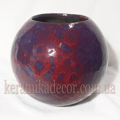 Керамическая глазурованная ваза-шар купить для интерьера Киев Украина