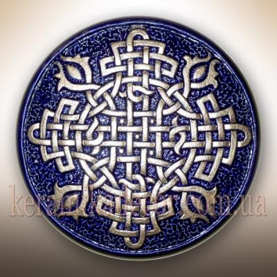 """Керамическая тарелка """"Обережный крест"""" синяя с золотом купить на подарок Киев"""