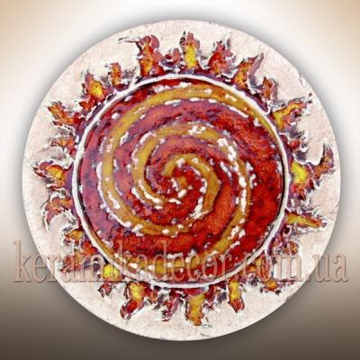 Декоративная красивая глазурованная тарелка с изображением спирали купить на подарок Украина