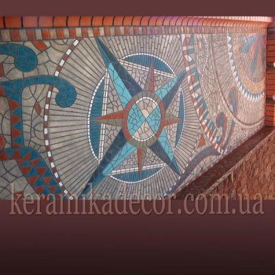 Керамическое мозаичное панно (шамот, глазурь) оформление фасадов купить Украина
