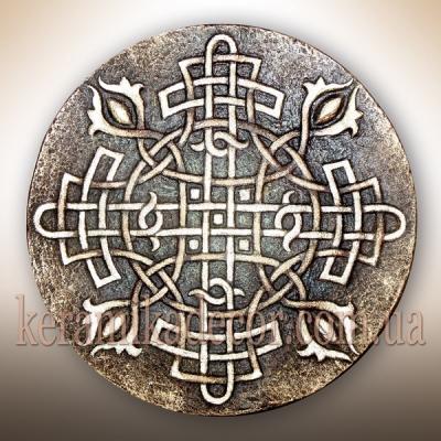 """Керамическая тарелка """"Обережный крест"""" купить на подарок Киев"""