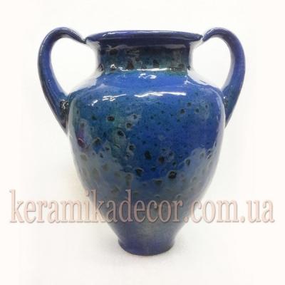 Керамическая синяя классическая глазурованная ваза для цветов купить для интерьера, для дома, квартиры, дачи, офиса, ресторана handmade Киев Украина