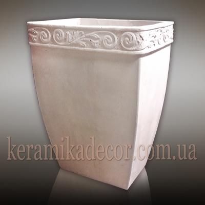 Керамический горшок контейнет для растений белого цвета большого размера