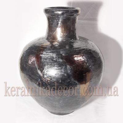 Керамическая глазурованная ваза, покрытие - металик, бронза  для цветов купить для интерьера, для дома, квартиры, дачи, офиса, ресторана  Киев Украина