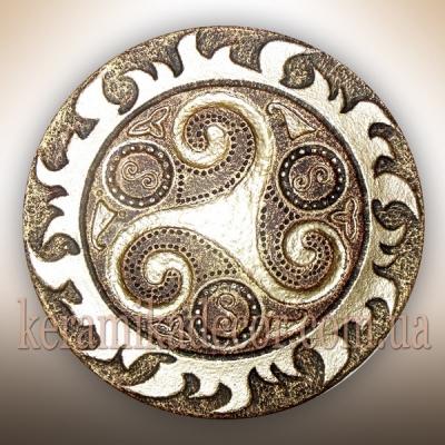 Декоративная красивая золотая тарелка купить на подарок Украина