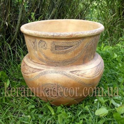 Керамический Трипольский горшок-ваза для цветов купить Киев