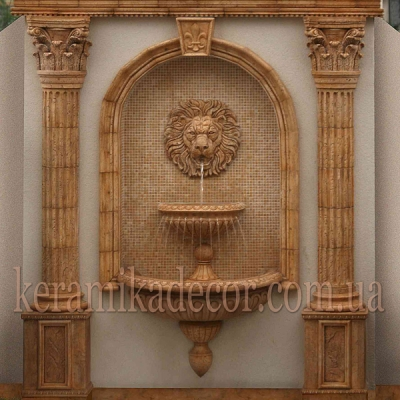 Керамический фонтан в классическом стиле с головой льва, керамика, шамот, заказать, купить Киев Украина