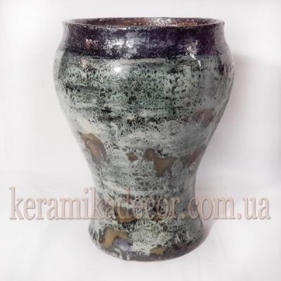 Керамическая классическая глазурованная ваза для цветов покрытие - застывшая лава купить для интерьера, для дома, квартиры, дачи, офиса, ресторана  Киев Украина
