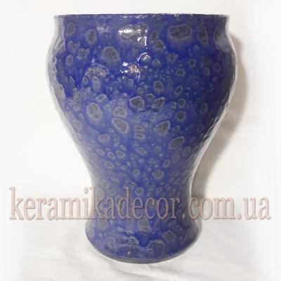 Керамическая синяя классическая глазурованная ваза для цветов купить для интерьера, для дома, квартиры, дачи, офиса, ресторана  Киев Украина