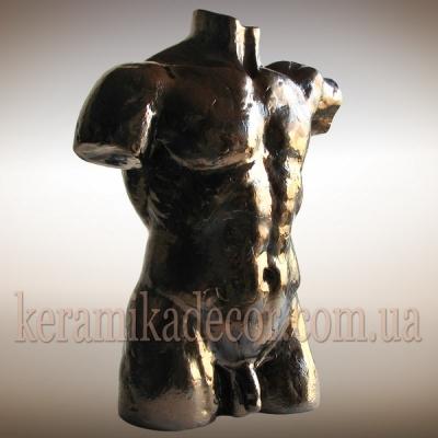 Керамический мужской торс в бронзе для интерьера и декора купить Украина Киев