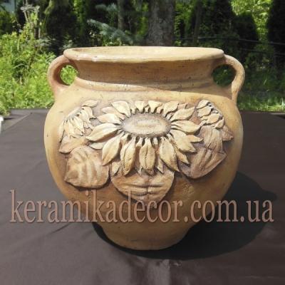 """Керамический горшок-ваза """"Подсолнухи"""" для цветов, дизайн интерьеров, ландшафтный дизайн купить Киев"""