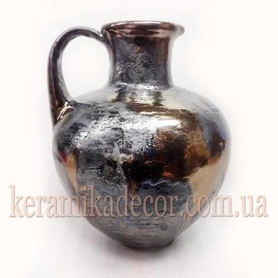 Керамическая глазурованная ваза-кувшин, покрытие - металик, бронза  для цветов купить для интерьера, для дома, квартиры, дачи, офиса, ресторана  Киев Украина