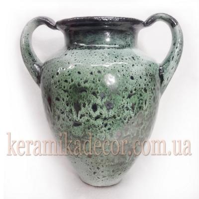 Керамическая классическая глазурованная ваза малахит для цветов купить для интерьера, для дома, квартиры, дачи, офиса, ресторана handmade Киев Украина