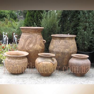 Керамические Трипольские горшоки для цветов, дизайн интерьеров, ландшафтный дизайн купить Киев