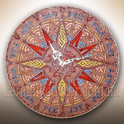 Часы красивые настенные керамические в глазури со Славянскими рунами купить на подарок в дом, в офис, на террасу