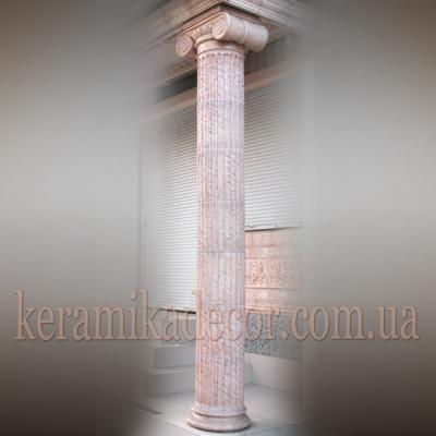 Керамическая колонна с ионической фронтальной капителью D=380 купить для декора фасада