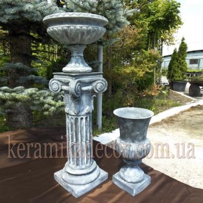 Керамическая колонна, пьедестал на 2 сегмента c переходником d=220мм, с ионической всесторонней капителью и базой + античная чаша и кубок купить для ландшафтного дизайна Украина