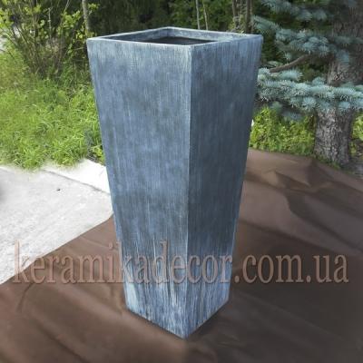 """Керамический крупный горшок контейнер для растений серого цвета""""под бетон"""""""