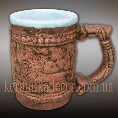 Керамическая кружка-сувенир для пива, кваса со славянским орнаментом купить Киев Украина