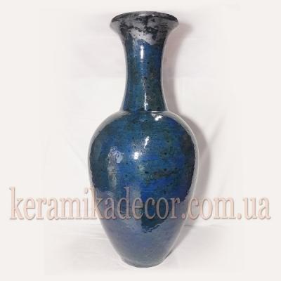 Керамическая синяя,морское дно, классическая изысканная глазурованная ваза для цветов купить для интерьера, для дома, квартиры, дачи, офиса, ресторана  Киев Украина
