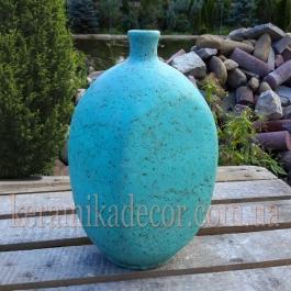 Керамическая глазурованная ваза-бутылка бирюзового цвета для цветов купить для интерьера, для дома, квартиры, дачи, офиса, ресторана  Киев Украина