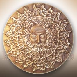 """Красивое керамическое панно-диcк золотой """"Бог Сварог"""" купить на подарок в дом, в офис, на террасу"""