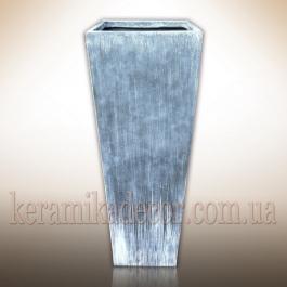 """Керамический крупный горшок контейнер для растений серого цвета""""под бетон"""" купить Украина"""