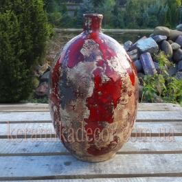 Керамическая глазурованная красная ваза-бутылка для цветов купить для интерьера, для дома, квартиры, дачи, офиса, ресторана  Киев Украина
