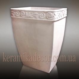 Керамический горшок контейнет для растений белого цвета