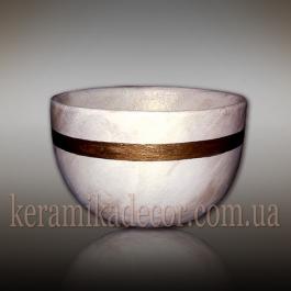 Керамический белый горшок под мрамор купить Киев