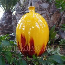 Керамическая глазурованная ваза-бутылка желтого цвета для цветов купить для интерьера, для дома, квартиры, дачи, офиса, ресторана  Киев Украина