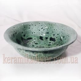 """Керамическая зеленая глазурованная тарелкоа со славянским символом """"Алатырь"""" купить для подарка, для дома"""